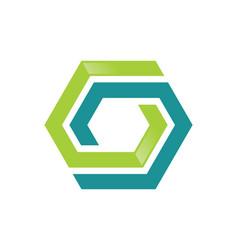 Polygon shape colored technology logo vector
