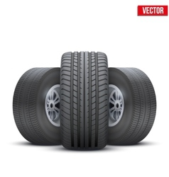 Realistic wheels and tire concept vector image