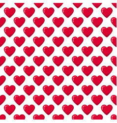 Red glossy candy hearts seamless pattern vector