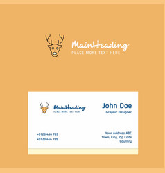 reindeer logo design with business card template vector image