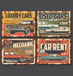 rent and repair service used cars old vehicles vector image