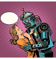 Robot woman love computer technology vector