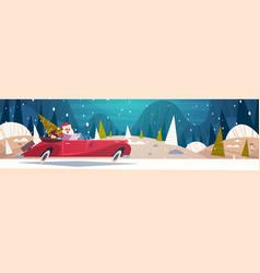 Santa driving retro car with green tree and vector
