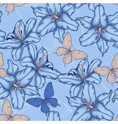 seamless background with blue lilies vector image