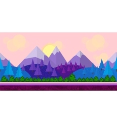 Seamless Flat style game background trees vector