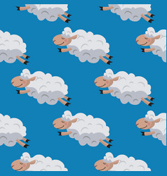 seamless pattern with flying sheeps lamb vector image