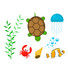 set aquatic funny sea animals underwater creatures vector image