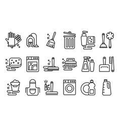 set of linear icons on cleaning theme vector image