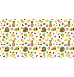 set various fresh juicy fruits seamless pattern vector image