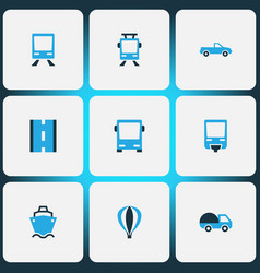 shipment icons colored set with streetcar bus vector image