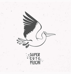 silhouette pelican vector image