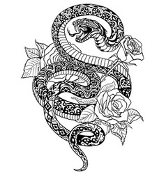 snake and roses black and white tattoo vector image