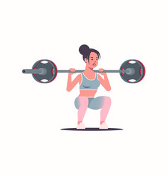 sporty girl doing squats exercises with barbell vector image
