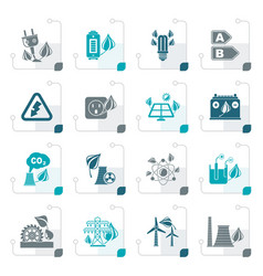 stylized green energy and environment icons vector image
