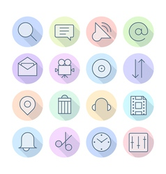 Thin Line Icons For Interface vector image