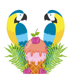 tropical bird parrots cartoon vector image