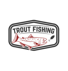 trout fishing emblem template with trout fish vector image