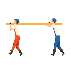 two construction workers carrying wooden plank vector image