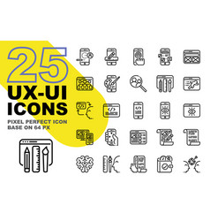ux ui application outline icons set base on 64px vector image