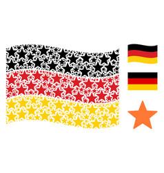 Waving german flag mosaic of fireworks star icons vector