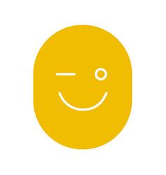 Winking smile glyph color icon vector
