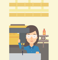 Woman working with boring mill vector