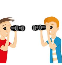 young people looking through binocular vector image
