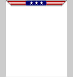 american flag blank frame vector image vector image