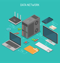 data network isometric concept vector image vector image