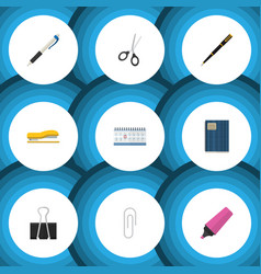 flat icon stationery set of paper clip clippers vector image vector image