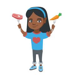 little african girl holding fresh carrot and steak vector image vector image