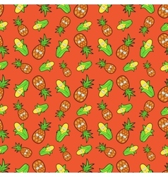 Fruits Seamless Background with Funny Pineapples vector image vector image