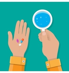 Hand holds glass of water and pills vector
