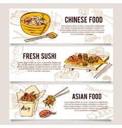 Set of asia street food Horizontal banners vector image