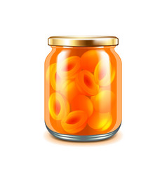 Apricot jam isolated on white vector