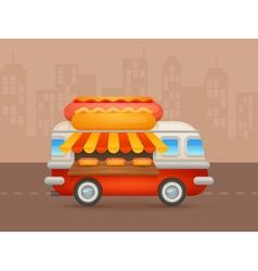 Cute cartoon realistic hot-dog van vector image