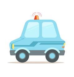 light blue cartoon police car vector image