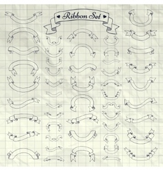 Pen Drawing Ribbons Banners on Notebook vector image