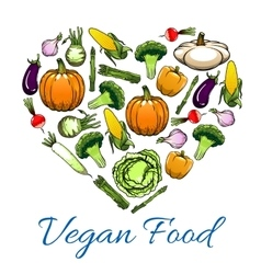 Vegetable love heart for vegetarian food design vector image
