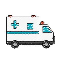 Color crayon stripe cartoon ambulance truck with vector