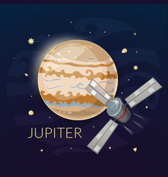 planet jupiter and spacecraft vector image