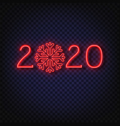 2020 neon text 2020 new year design template vector image