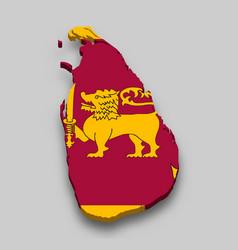 3d isometric map sri lanka with national flag vector image