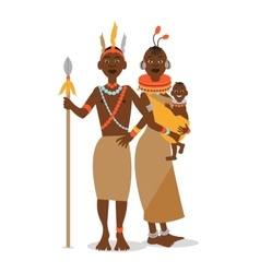 African couple with a baby in traditional ethnic vector