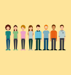 avatar group people man and woman standing image vector image
