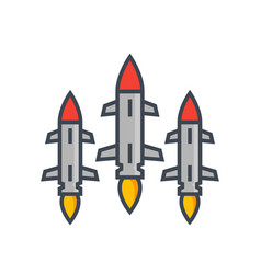 ballistic missiles on white vector image