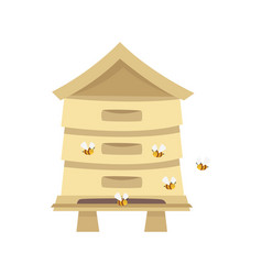 Beehive for beekeeping agriculture vector