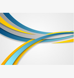 Blue and yellow abstract corporate waves vector