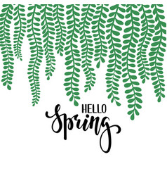 Border frame branch leaves hello spring hand vector