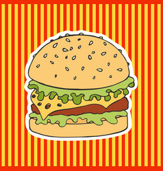 burger on a striped background hand drawing vector image